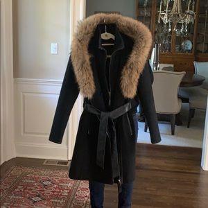 Mackage Fur Trimmed Belted coat